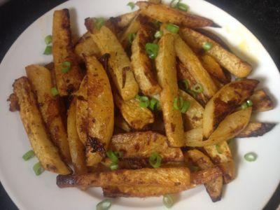 Spicy parmesan turnip fries