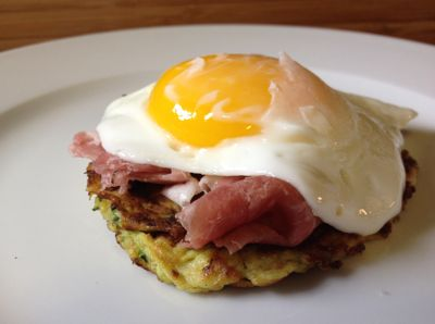 zucchini pancakes with prosciutto and soft eggs