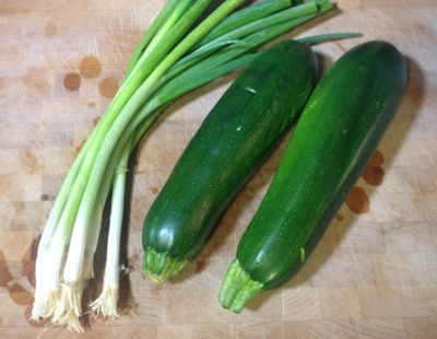 green onions and zucchini