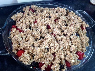 crumble topped berry cobbler